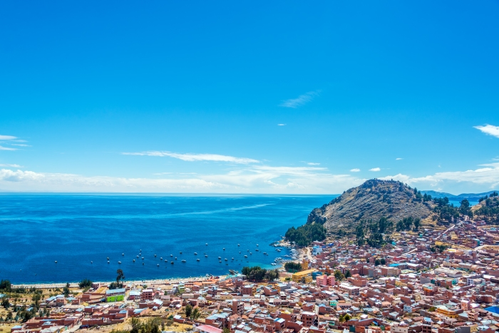 View from a hill of Copacabana, Bolivia with Lake Titicaca in the background