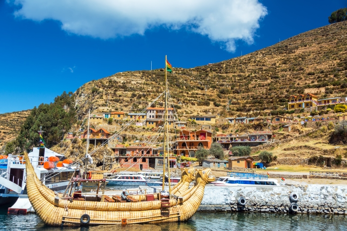 ISLA DEL SOL, BOLIVIA - AUGUST 17: Reed boat docked on Isla del Sol, Bolivia on August 17, 2014
