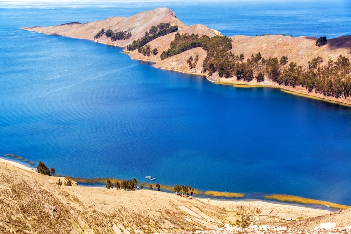 Long skinny peninsula on Isla del Sol on the Bolivian side of Lake Titicaca
