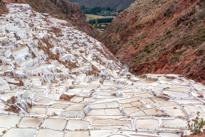Pools for producing salt near the town of Maras in the Sacred Valley near Cusco, Peru