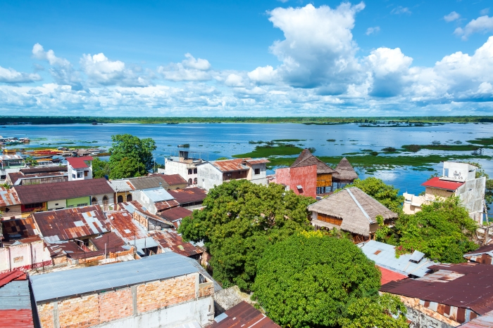 Cityscape view of Iquitos, Peru with the Itaya River in the background in the middle of the Amazon Rain Forest