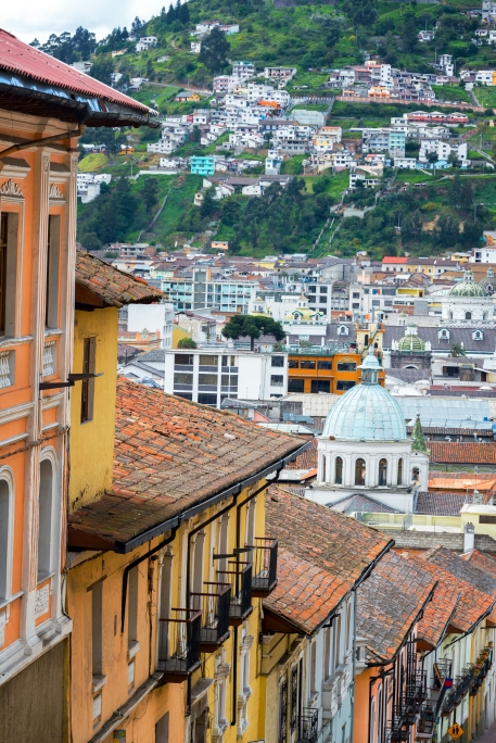 Balconies and a church dome in the historic colonial center of Quito, Ecuador