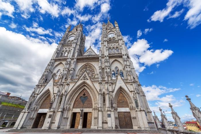 Facade of the huge Basilica in Quito, Ecuador