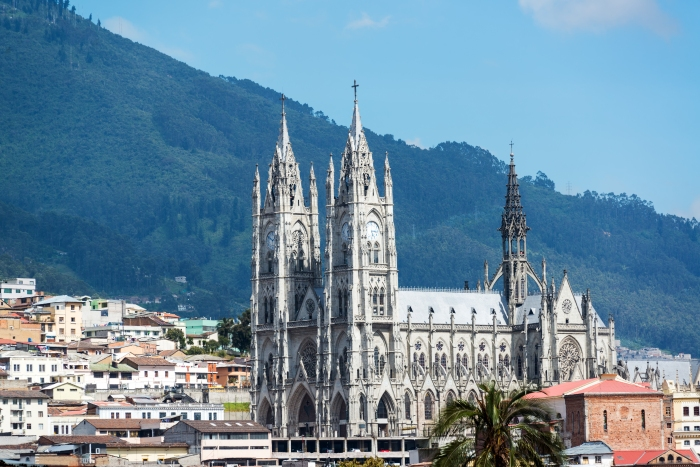 The Basilica of Quito, Ecuador towering above the historic old town